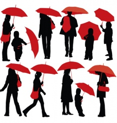 People with umbrellas vector