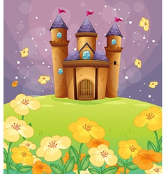 A beautiful castle in the fields vector