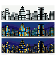 Night downtown banners vector