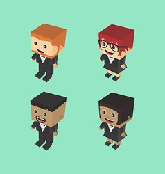 Block isometric cartoon character vector