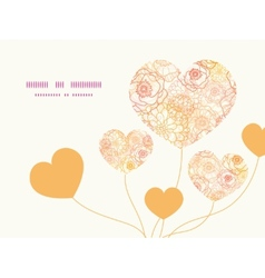Warm flowers heart symbol frame pattern vector