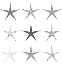 Star set grunge vector