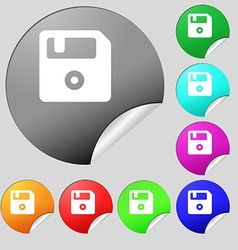 Floppy icon sign set of eight multi-colored round vector