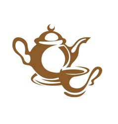 Teapot cup and saucer icon in brown vector