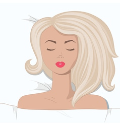 Young blonde girl is sleepping in the bed vector