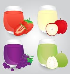 Set of fruits juice glasses on background vector