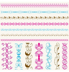 Calligraphic lace brush set vector