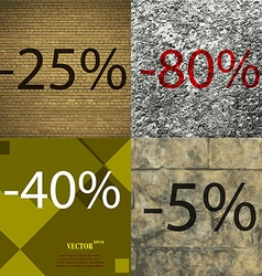 40 80 5 icon set of percent discount on abstract vector
