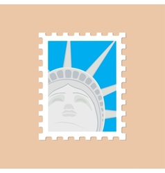Postage stamp with the statue of liberty vector