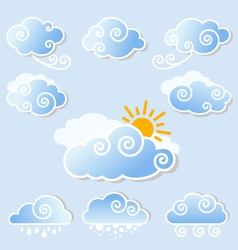Cute clouds set vector