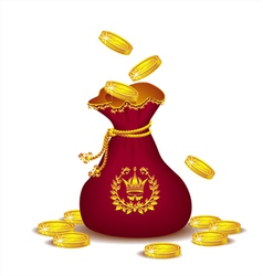 Royal bag with gold coins vector