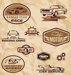 Racing cars vintage labels vector