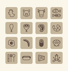 Flat icons set of foods outline concept vector