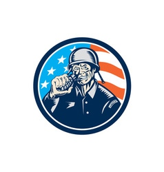 World war two soldier american grenade circle vector