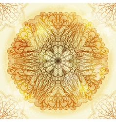 Hand drawn ethnic circular beige ornament vector