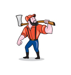 Lumberjack holding axe cartoon vector