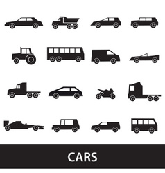 Simple cars black silhouettes icons collection vector