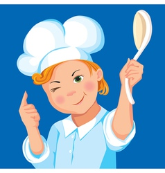 Boy cook with a spoon on a blue background vector