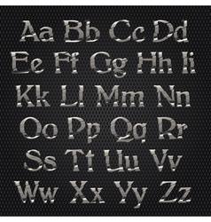 Cut alphabet metallic vector