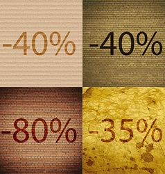 40 80 35 icon set of percent discount on abstract vector