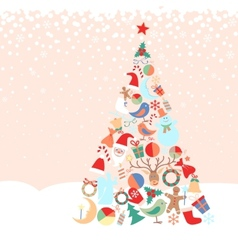 Snowy background with christmas tree with toys vector