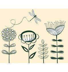 Seamless vintage flower pattern line art vector