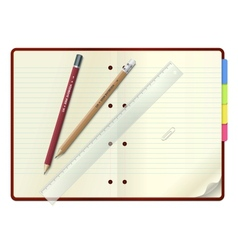 An open notebook with pencils and ruler vector