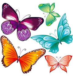 Butterflies set vector