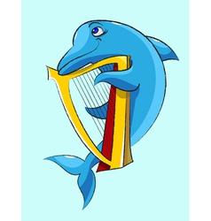 Dolphin harpist vector