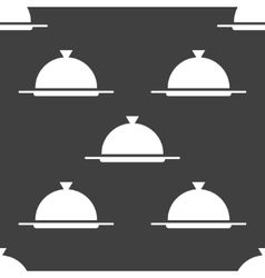 Restaurant cloche web icon flat design seamless vector
