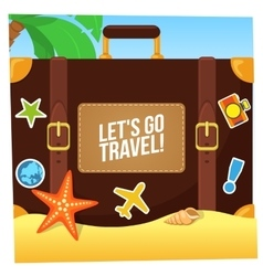 Journey suitcase on the beach vector