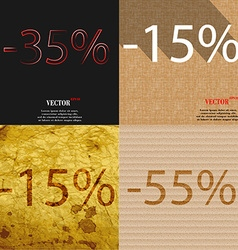 15 55 icon set of percent discount on abstract vector