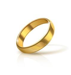 Golden wedding ring vector
