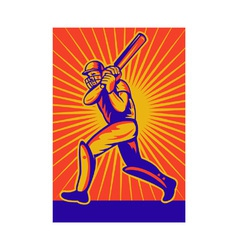 Retro cricket poster vector