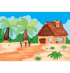 A hut in nature vector