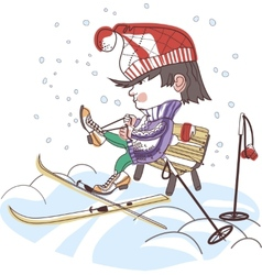Boy putting on skis vector