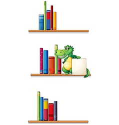 Bookshelves with an alligator holding an empty vector
