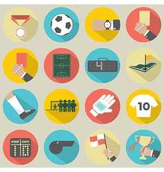 Flat design football soccer icons set 16 vector