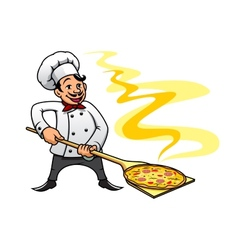 Cartoon baker chef cooking pizza vector