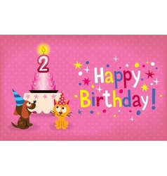 Happy second birthday card vector