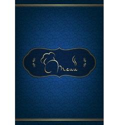 Blue restaurant menu cover vector