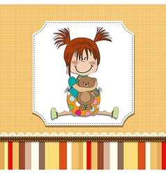 Little girl sitting with her teddy bear vector