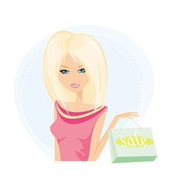 Pretty girl with shopping bag vector