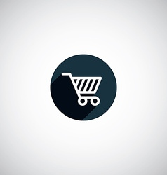 Flat round shopping cart icon vector