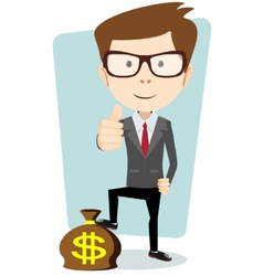 Businessman standing on the bag with dollars vector