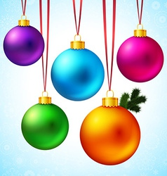 Set of five realistic and colorful christmas balls vector