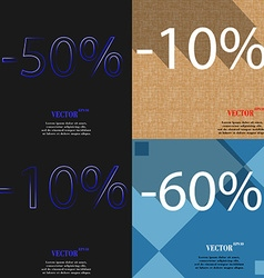 10 60 icon set of percent discount on abstract vector