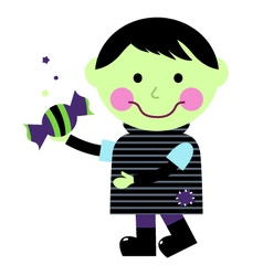 Cute halloween zombie boy holding candy vector