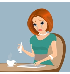 Young elegant woman is crying in the cafe - close vector