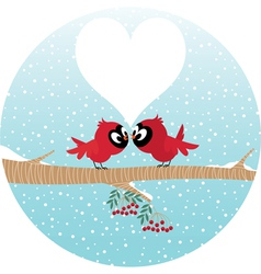 Loving birds on a branch vector